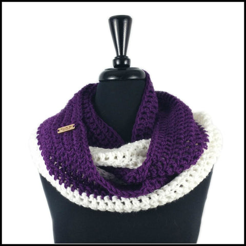 Purple & White Infinity Scarf - Bundle Up Crochet - 1