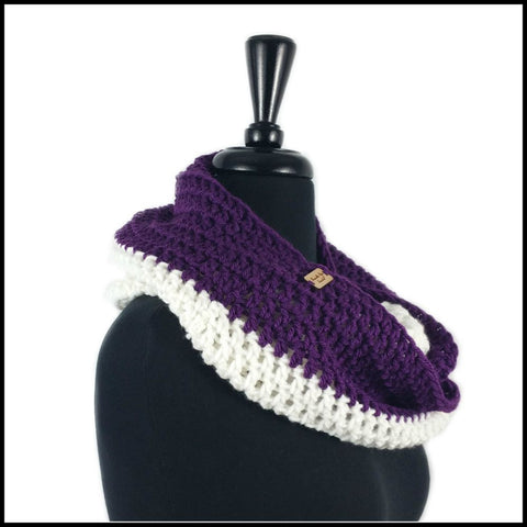 Purple & White Infinity Scarf - Bundle Up Crochet - 2