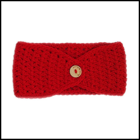 Red Earwarmer with Royal Blue Flower - Bundle Up Crochet - 2