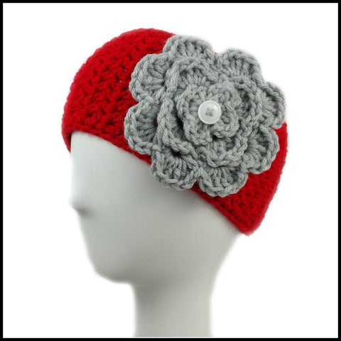 Red Earwarmer with Navy Blue Flower - Bundle Up Crochet - 4