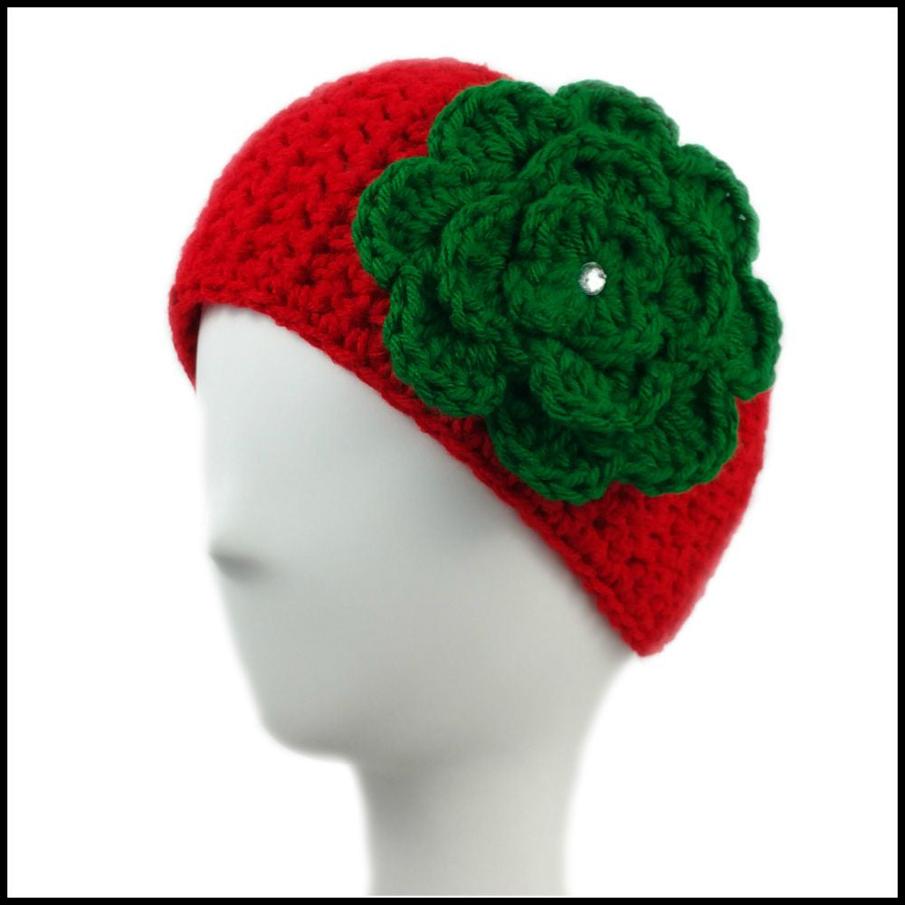 Red Earwarmer with Green Flower - Bundle Up Crochet - 1