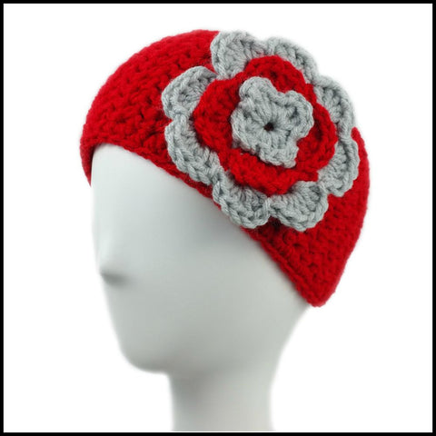 Red Earwarmer with Navy Blue Flower - Bundle Up Crochet - 3