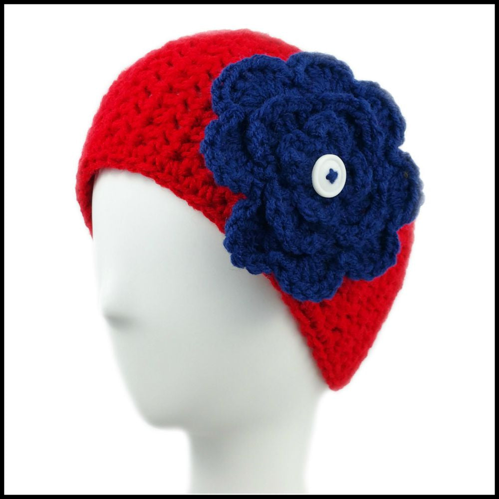 Red Earwarmer with Navy Blue Flower - Bundle Up Crochet - 1
