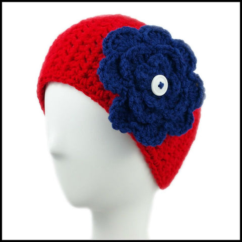 Red Earwarmer with Royal Blue Flower - Bundle Up Crochet - 3