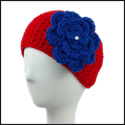 Red Earwarmer with Royal Blue Flower - Bundle Up Crochet - 1