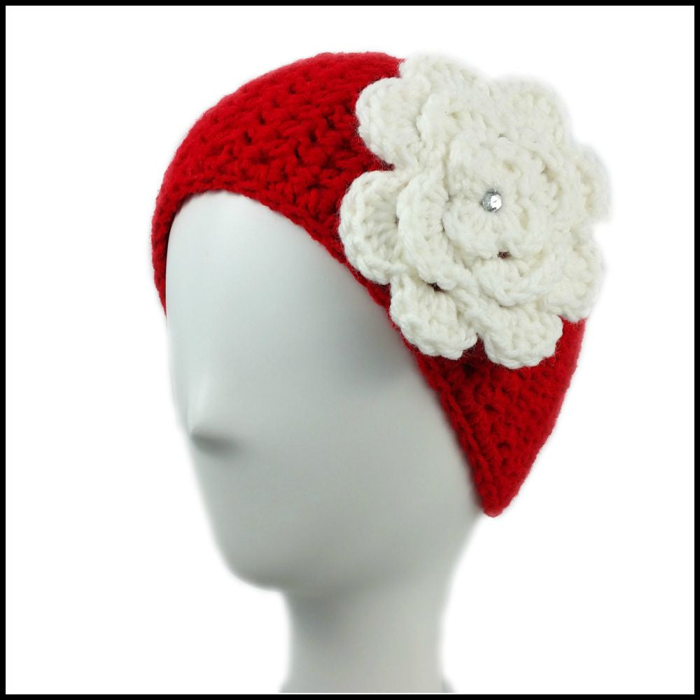 Red Earwarmer with White Flower - Bundle Up Crochet - 1