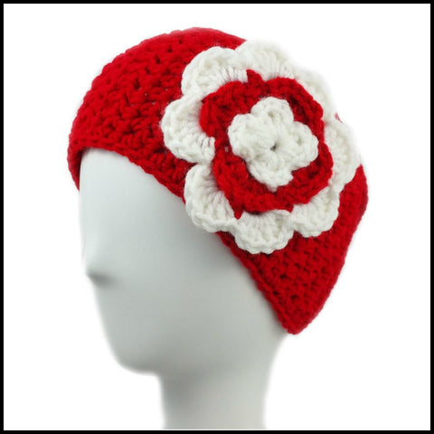 Red Earwarmer with Navy Blue Flower - Bundle Up Crochet - 7