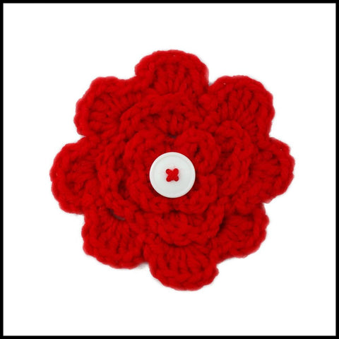 White & Red Flower - Bundle Up Crochet - 11