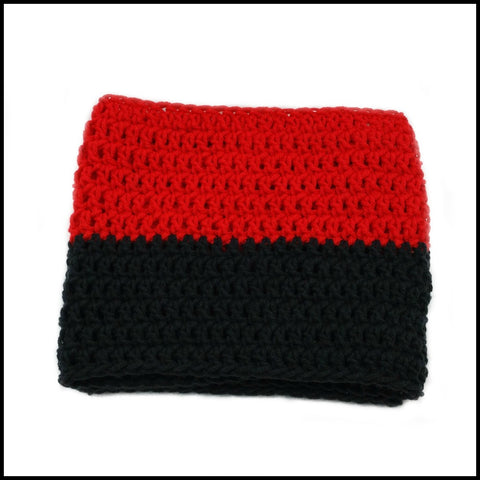 Red & Black Infinity Scarf - Bundle Up Crochet - 3