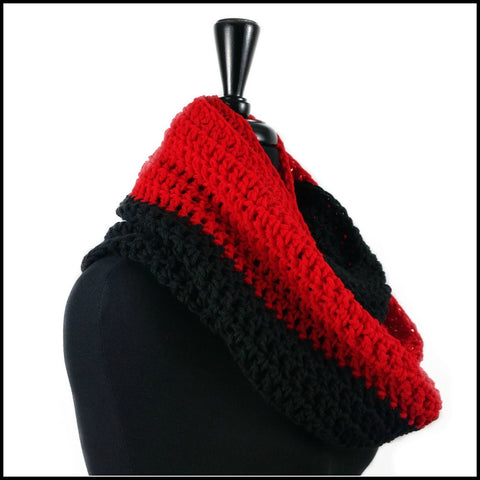 Red & Black Infinity Scarf - Bundle Up Crochet - 2
