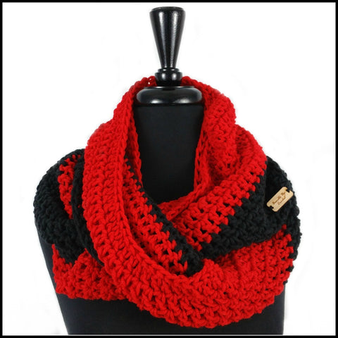 Red & Navy Blue Infinity Scarf - Bundle Up Crochet - 5