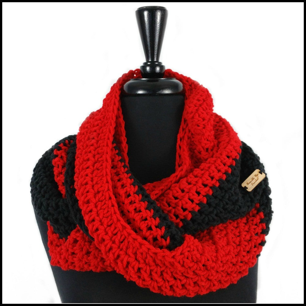 Red & Black Infinity Scarf - Bundle Up Crochet - 1
