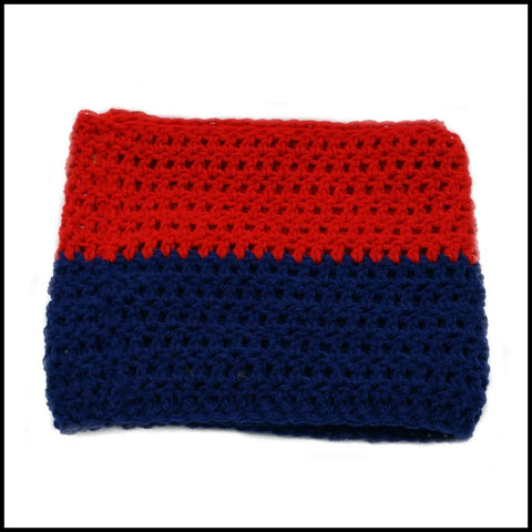 Red & Navy Blue Infinity Scarf - Bundle Up Crochet - 3
