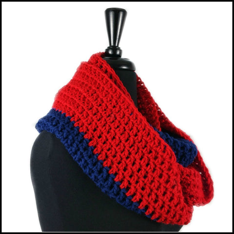 Red & Navy Blue Infinity Scarf - Bundle Up Crochet - 2