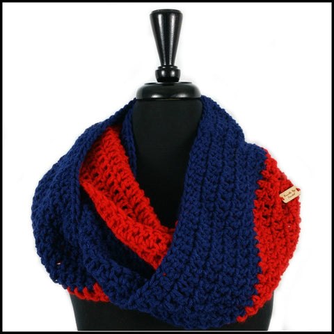 Red & Navy Blue Infinity Scarf - Bundle Up Crochet - 1