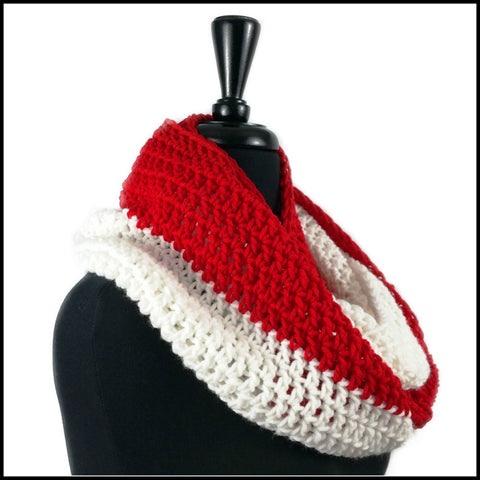 Red & White Infinity Scarf - Bundle Up Crochet - 2