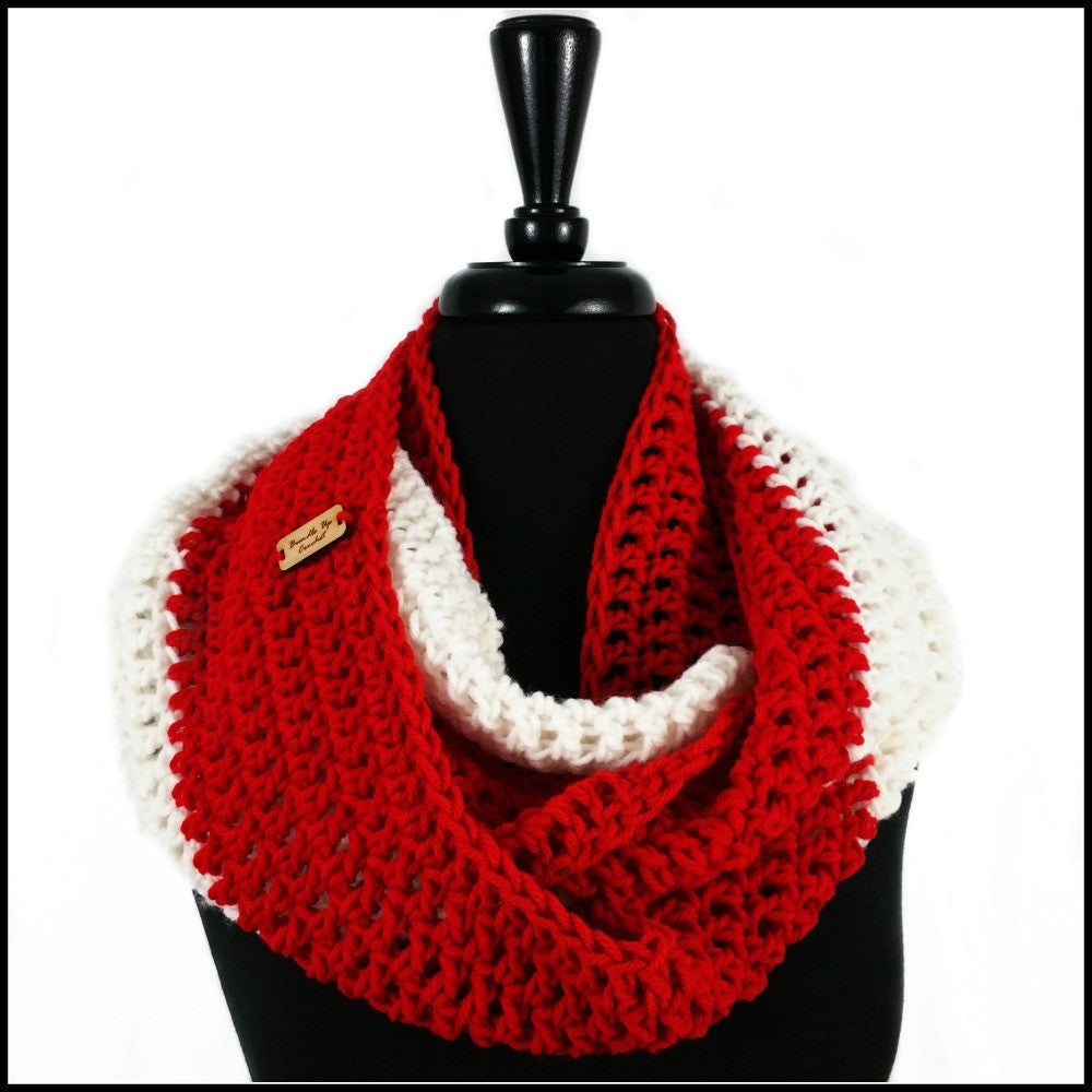 Red & White Infinity Scarf - Bundle Up Crochet - 1
