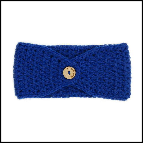 Royal Blue Earwarmer with Red Flower - Bundle Up Crochet - 2