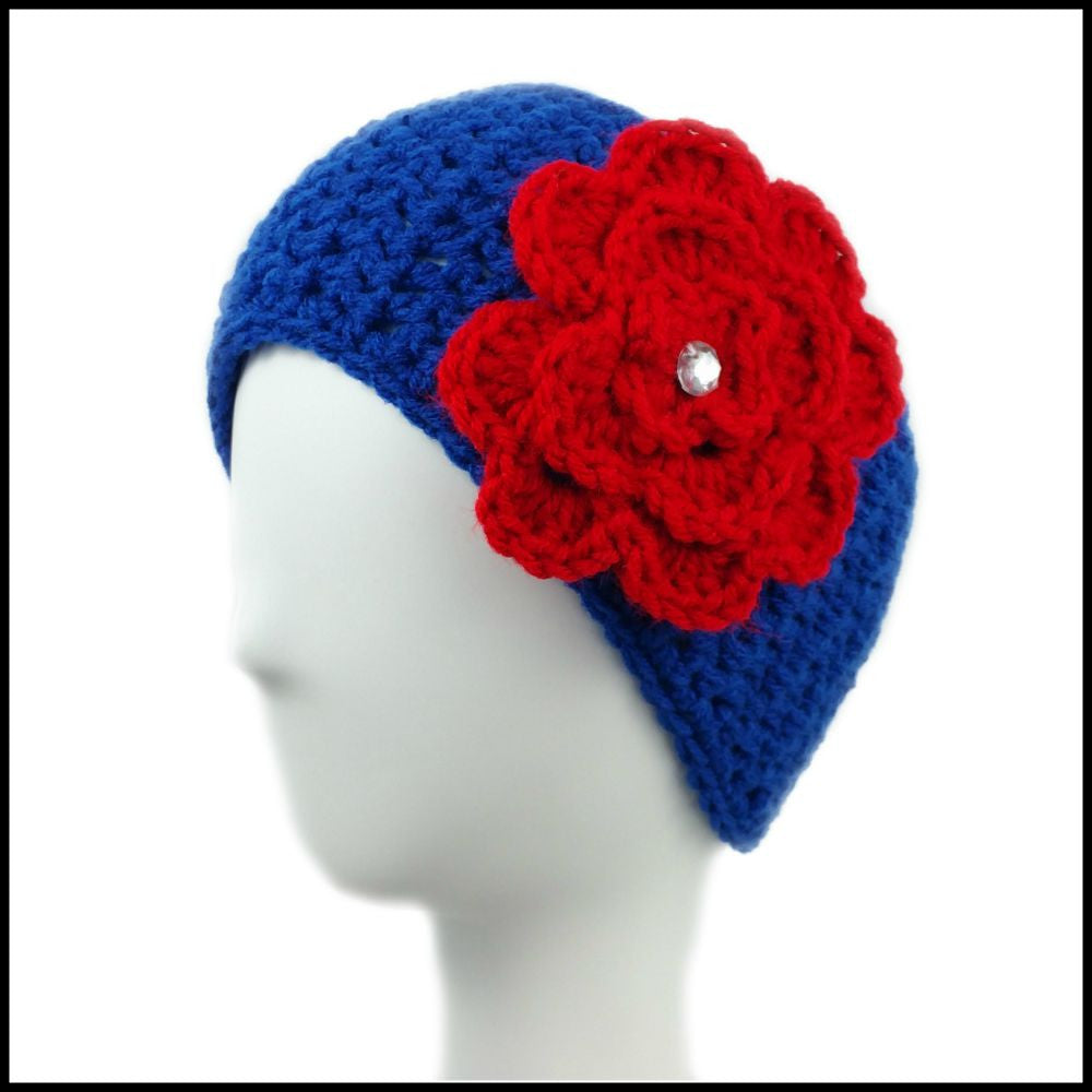 Royal Blue Earwarmer with Red Flower - Bundle Up Crochet - 1