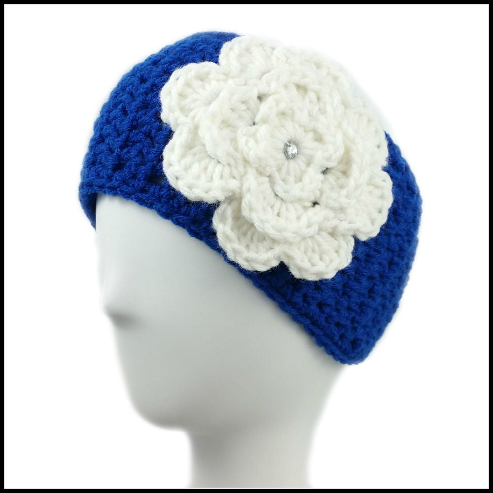 Royal Blue Earwarmer with White Flower - Bundle Up Crochet - 1