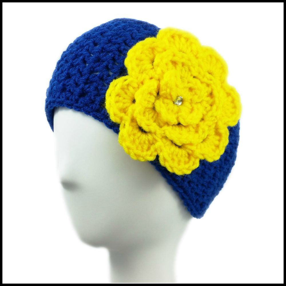Royal Blue Earwarmer with Yellow Flower - Bundle Up Crochet - 1