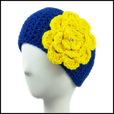 Royal Blue Earwarmer with Red Flower - Bundle Up Crochet - 3