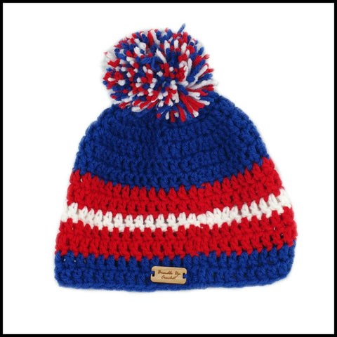 Royal Blue, Red & White Hat - Bundle Up Crochet - 3