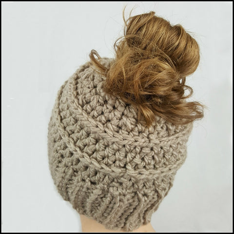 Taupe Bun Beanie - Bundle Up Crochet - 2