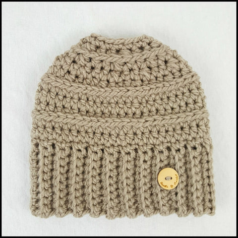 Taupe Bun Beanie - Bundle Up Crochet - 3