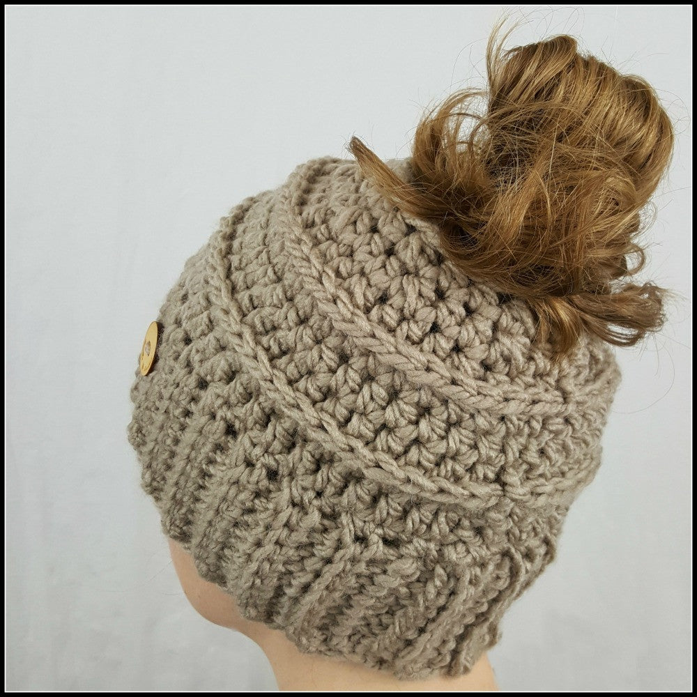 Taupe Bun Beanie - Bundle Up Crochet - 1
