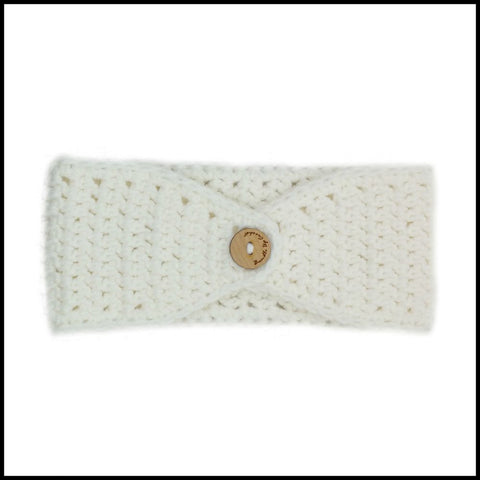 White Earwarmer with Green Flower - Bundle Up Crochet - 2