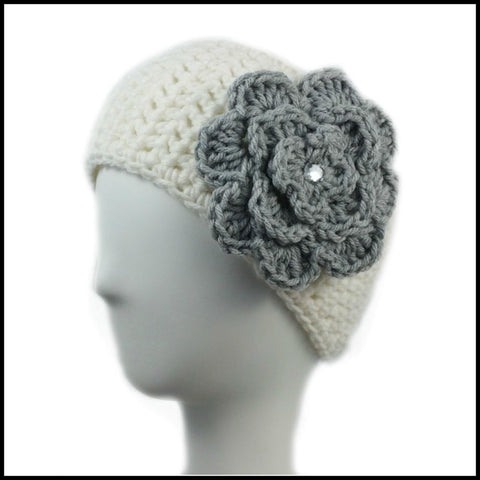 White Earwarmer with Royal Blue Flower - Bundle Up Crochet - 6