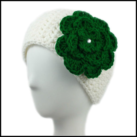 White Earwarmer with Green Flower - Bundle Up Crochet - 1