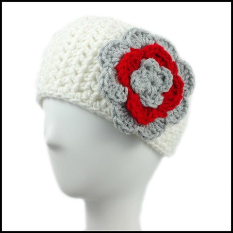 White Earwarmer with Royal Blue Flower - Bundle Up Crochet - 3