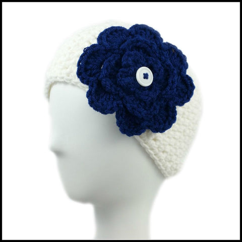 White Earwarmer with Purple Flower - Bundle Up Crochet - 9