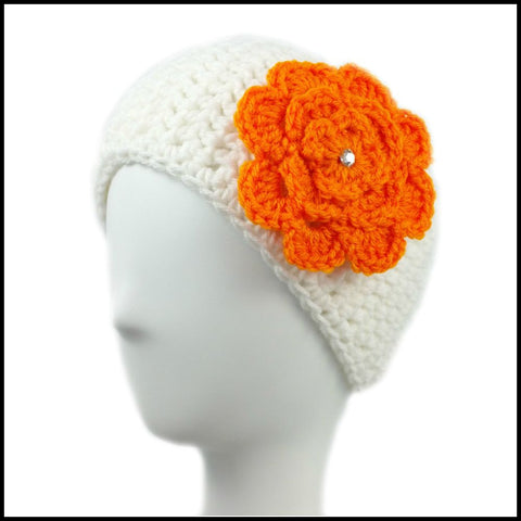 White Earwarmer with Orange Flower - Bundle Up Crochet - 1