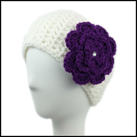 White Earwarmer with Purple Flower - Bundle Up Crochet - 1