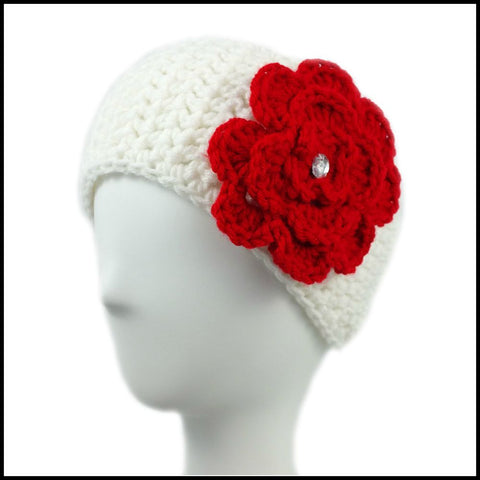 White Earwarmer with Red Flower - Bundle Up Crochet - 1