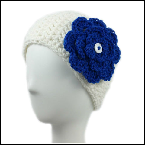 White Earwarmer with Royal Blue Flower - Bundle Up Crochet - 1