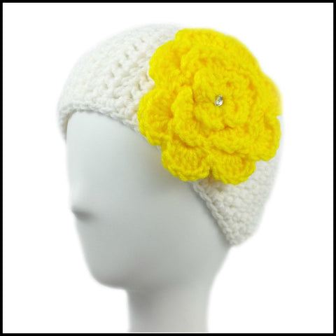 White Earwarmer with Royal Blue Flower - Bundle Up Crochet - 5