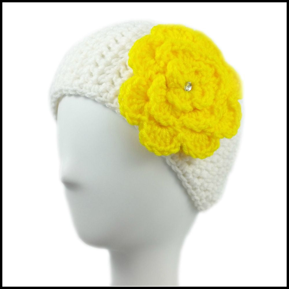 White Earwarmer with Yellow Flower - Bundle Up Crochet - 1