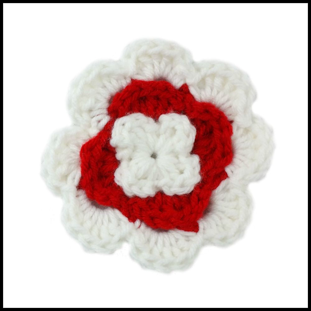 White & Red Flower - Bundle Up Crochet - 1