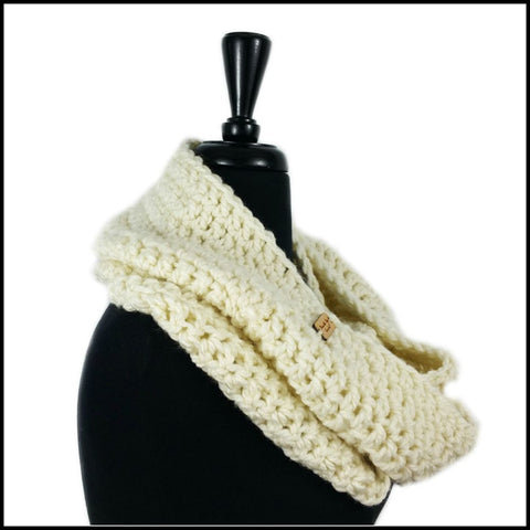 Soft White Chunky Infinity Scarf - Bundle Up Crochet - 2