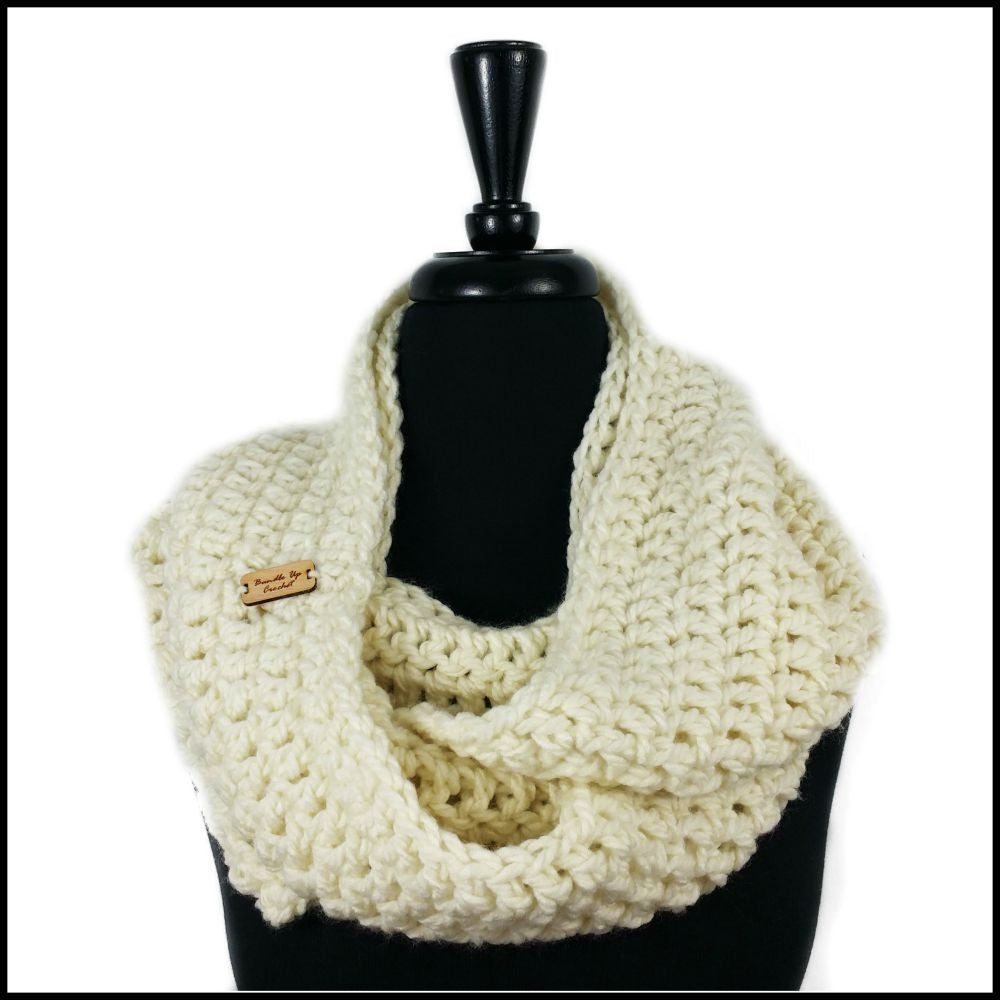 Soft White Chunky Infinity Scarf - Bundle Up Crochet - 1