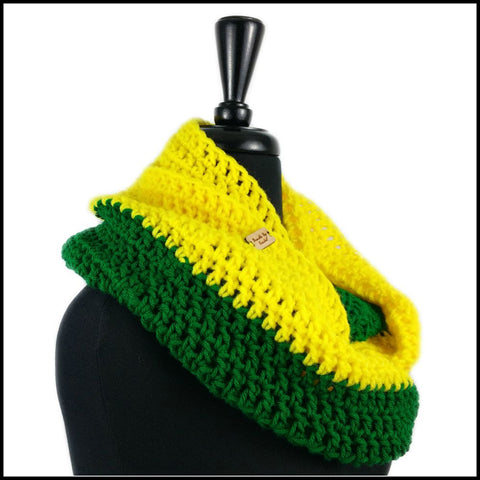Yellow & Green Infinity Scarf - Bundle Up Crochet - 2