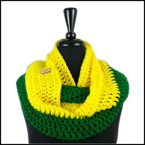 Yellow & Green Infinity Scarf - Bundle Up Crochet - 1