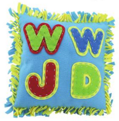 WWJD Blue Pillow