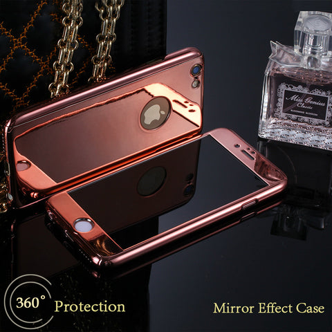 360 Full Body Mirror iPhone Case with Glass Screen Protector