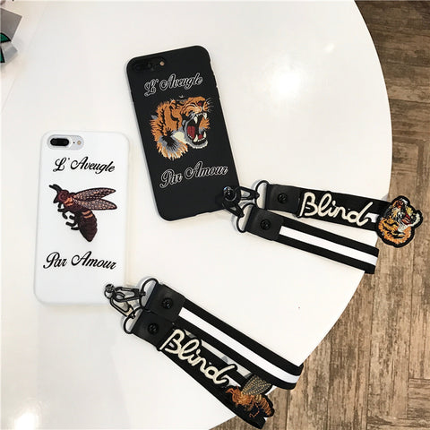Par Amour Bee/Tiger iPhone Case w/Lanyard