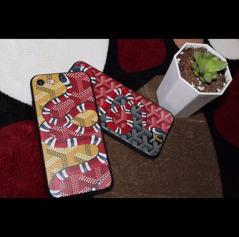 Red Snake Y Pattern iPhone Case